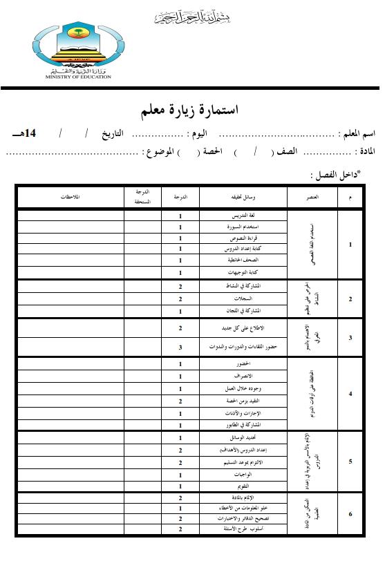 استمارة زيارة معلم
